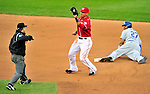 24 April 2010: Washington Nationals' infielder Ian Desmond gets Los Angeles Dodgers' center fielder Matt Kemp out at Nationals Park in Washington, DC. The Dodgers edged out the Nationals 4-3 in a thirteen inning game. Mandatory Credit: Ed Wolfstein Photo