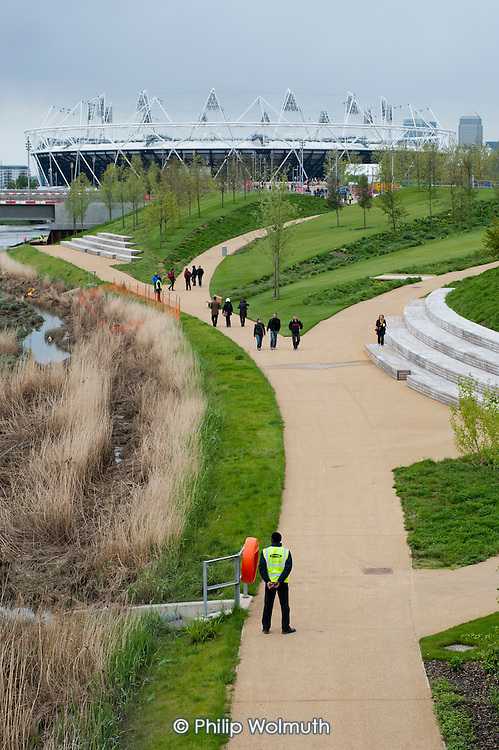 A security guard employed by private contractor Sword. London 2012 Olympic Park and Stadium, Stratford.