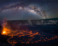hot lava fountains at subduction zones in a lava lake in the Overlook Vent pit within Halemaumau Crater, at the summit of Kilauea Volcano in Hawaii, USA Volcanoes National Park, Hawaii, USA Island ( the Big Island ), Hawaii, USA, USA; the Milky Way fills the night sky in the background (image composite)