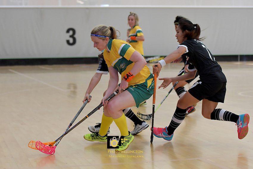 Australia&rsquo;s Lauren Hogan in action during the World Floorball Championships 2017 Qualification for Asia-Oceania Region - Thailand v Australia at ASB Sports Centre , Wellington, New Zealand on Wednesday 31 January 2017.<br /> Photo by Masanori Udagawa<br /> www.photowellington.photoshelter.com.