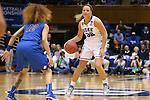 24 March 2014: Duke's Tricia Liston (32) and DePaul's Brittany Hrynko (12). The Duke University Blue Devils played the DePaul University Blue Demons in an NCAA Division I Women's Basketball Tournament Second Round game at Cameron Indoor Stadium in Durham, North Carolina. DePaul won the game 74-65.
