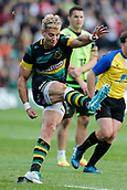 9th September 2017, Franklins Gardens, Northampton, England; Aviva Premiership Rugby, Northampton Saints versus Leicester Tigers; Harry Mallinder of Northampton Saints conerts Tom Collins's try
