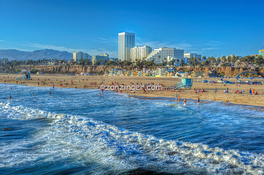 Santa Monica beach, Skyline, Cityscape, Pacific Ocean Waves, world-famous beach