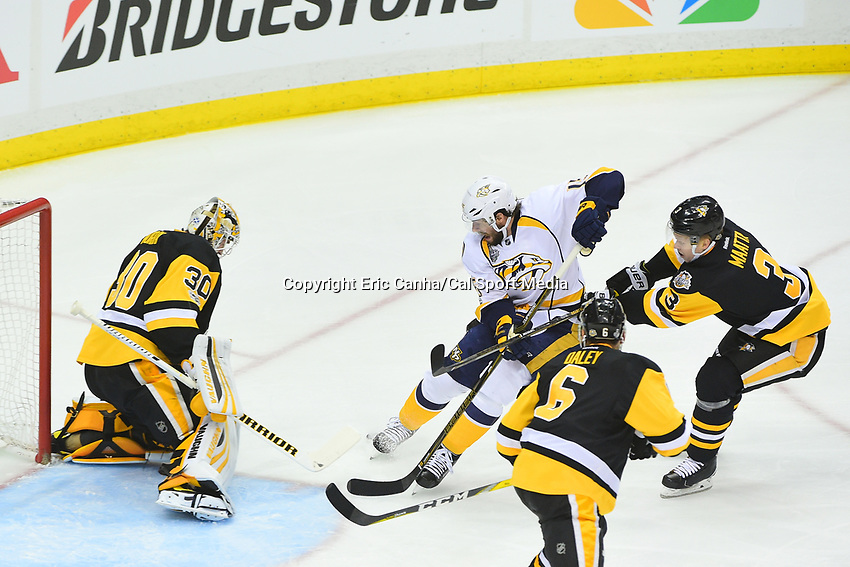 May 29, 2017: Pittsburgh Penguins goalie Matt Murray (30) stpps the shot by Nashville Predators center Craig Smith (15)  during game one of the National Hockey League Stanley Cup Finals between the Nashville Predators  and the Pittsburgh Penguins, held at PPG Paints Arena, in Pittsburgh, PA.   Eric Canha/CSM