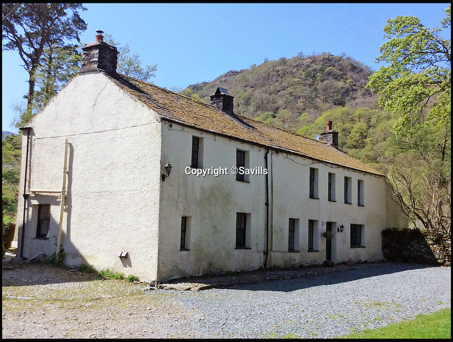 BNPS.co.uk (01202 558833)<br /> Pic: Savills/BNPS<br /> <br /> Farm house could do with a makeover.<br /> <br /> Buy one get 413 sheep free! - stunning farm in beautiful Borrowdale in the heart of the lake district for sale.<br /> <br /> Lovers of the great outdoors can get their own stretch of green and pleasant land with this idyllic Lakeland farm - which comes with a flock of sheep thrown in.<br /> <br /> Thorneythwaite Farm has the breathtaking backdrop of Borrowdale Valley in the Lake District and comes with 316 acres of land to explore.<br /> <br /> But if that's not enough it's also perfect for fell walking as it is close to one of the main paths that ascend Scafell Pike, England's highest mountain.<br /> <br /> The stunning land is on the market for the first time in almost 100 years and will be sold by Savills at a public auction on August 9 with a guide price of £1.55million.