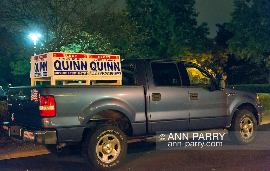 Oct. 23, 2012 - Merrick, New York, U.S. - 4X4 Truck with large campaign signs - for candidate Judge Quinn running for New York State Supreme Court Justice,  parked near entrance to Merrick Clubhouse, where the 4th Annual Meet the Candidate Night held by South Merrick and North and Central Merrick Civic Associations was taking place.