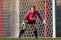 Western New York Flash goalkeeper Adrianna Franch (24). Sky Blue FC defeated the Western New York Flash 1-0 during a National Women's Soccer League (NWSL) match at Yurcak Field in Piscataway, NJ, on April 14, 2013.