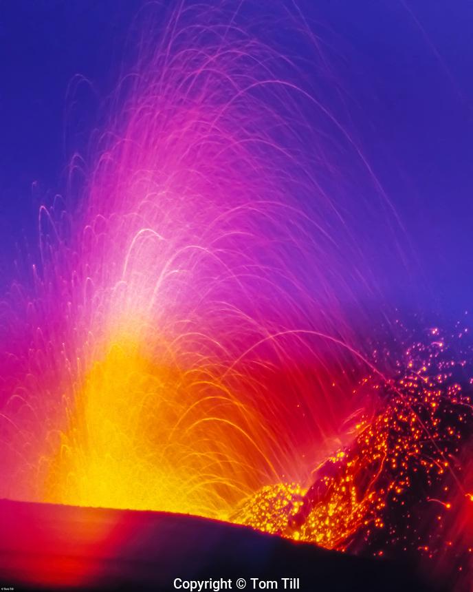 Eruptions of Stromboli Volcano, Aeolian Islands, Italy, UNESCO World Heritage Site, Mediteranean Sea, Magma eruptions