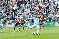 Claudio Bieler (16) forward Sporting KC taking penalty kick..Sporting Kansas City defeated Chivas USA 4-0 at Sporting Park, Kansas City, Kansas.