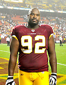 Washington Redskins defensive lineman Albert Haynesworth (92) leaves the field following his team's 13 - 7 victory over the Dallas Cowboys at FedEx Field in Landover, Maryland on Sunday, September 12, 2010. .Credit: Ron Sachs / CNP