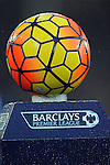 The new Yellow and Red Nike Ordem 3 Barclays Premier League match ball for the 2015-16 Season in today's rain<br /> - Barclays Premier League - Everton vs Leicester City - Goodison Park - Liverpool - England - 19th December 2015 - Pic Robin Parker/Sportimage