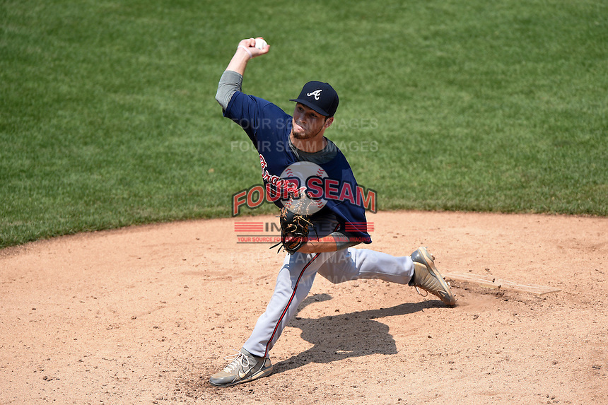 Rob Gauvreau (28) of Sprayberry High School in Marietta, Georgia playing for the Atlanta Braves scout team during the East Coast Pro Showcase on August 2, 2014 at NBT Bank Stadium in Syracuse, New York.  (Mike Janes/Four Seam Images)