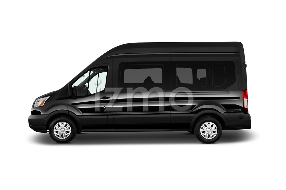 Car driver side profile view of a 2019 Ford Transit Wagon 350 XLT Wagon High Roof Pass Slide 148WB 5 Door Passenger Van