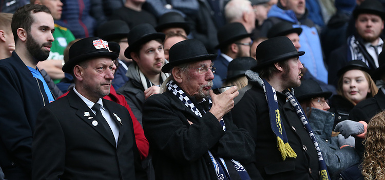 Preston North End fans watch on and support their team<br /> <br /> Photographer Stephen White/CameraSport<br /> <br /> The EFL Sky Bet Championship - West Bromwich Albion v Preston North End - Saturday 13th April 2019 - The Hawthorns - West Bromwich<br /> <br /> World Copyright © 2019 CameraSport. All rights reserved. 43 Linden Ave. Countesthorpe. Leicester. England. LE8 5PG - Tel: +44 (0) 116 277 4147 - admin@camerasport.com - www.camerasport.com