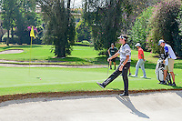 Bubba Watson (USA) reacts to his chip from the fringe on 1  during round 1 of the World Golf Championships, Mexico, Club De Golf Chapultepec, Mexico City, Mexico. 3/2/2017.<br /> Picture: Golffile | Ken Murray<br /> <br /> <br /> All photo usage must carry mandatory copyright credit (&copy; Golffile | Ken Murray)