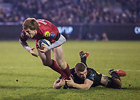 Scarlets&rsquo; Rhys Patchell is tackled by Bath Rugby's Sam Underhill<br /> <br /> Photographer Bob Bradford/CameraSport<br /> <br /> European Champions Cup Round 5 - Bath Rugby v Scarlets - Friday 12th January 2018 - The Recreation Ground - Bath<br /> <br /> World Copyright &copy; 2018 CameraSport. All rights reserved. 43 Linden Ave. Countesthorpe. Leicester. England. LE8 5PG - Tel: +44 (0) 116 277 4147 - admin@camerasport.com - www.camerasport.com