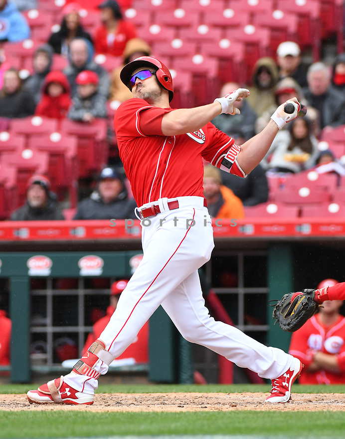 Cincinnati Reds Adam Duvall (23) during a game against the Philadelphia Phillies on April 6, 2017 at Great American Ballpark in Cincinnati, OH. The Reds beat the Phillies 4-7.