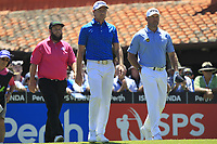 Lee Westwood (ENG), Andrew Johnston (ENG) and Brett Rumford (AUS) on the 1st tee during Round 2 of the ISPS Handa World Super 6 Perth at Lake Karrinyup Country Club on the Friday 9th February 2018.<br /> Picture:  Thos Caffrey / www.golffile.ie<br /> <br /> All photo usage must carry mandatory copyright credit (&copy; Golffile | Thos Caffrey)