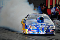 Oct. 31, 2008; Las Vegas, NV, USA: NHRA pro stock driver Warren Johnson does a burnout during qualifying for the Las Vegas Nationals at The Strip in Las Vegas. Mandatory Credit: Mark J. Rebilas-