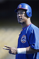 Moises Alou of the Chicago Cubs before a 2002 MLB season game against the Los Angeles Dodgers at Dodger Stadium, in Los Angeles, California. (Larry Goren/Four Seam Images)