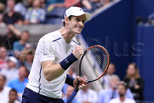 07.09.2016. Flushing Meadows, New York, USA. US Open Tennis Championships, mens singles quarter-final. Andy Murray (GBR)celebrates a point against Kei Nishikori (JPN)