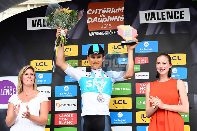 Polish National Champion Michal Kwiatkwoski (POL) Team Sky wins the opening Prologue of the 2018 Criterium du Dauphine running 6.6km around Valence, France. 3rd June 2018.<br /> Picture: ASO/Alex Broadway | Cyclefile<br /> <br /> <br /> All photos usage must carry mandatory copyright credit (© Cyclefile | ASO/Alex Broadway)