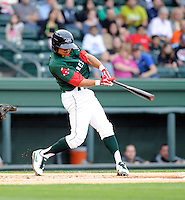 Infielder Mookie Betts (7) of the Greenville Drive in a game against the West Virginia Power on Monday, April 15, 2013, at Fluor Field at the West End in Greenville, South Carolina. West Virginia won, 6-0. (Tom Priddy/Four Seam Images)