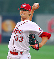 16 June 2007: Daniel Bard of the Greenville Drive, Class A South Atlantic League affiliate of the Boston Red Sox, in a game against the Columbus Catfish at West End Field in Greenville, S.C. Photo by:  Tom Priddy/Four Seam Images