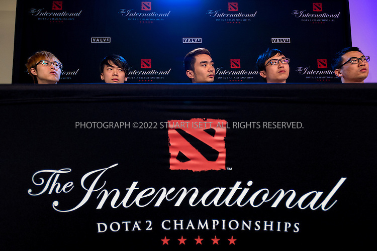 7/21/2014&mdash;Seattle, WA, USA<br /> <br /> Here: &ldquo;Newbee&rdquo;, a DOTA 2 team from China, at a press conference before the final against &ldquo;Vici Gaming&quot;, another team from China. Vici Gaming lost the best of five final, 3 games to 1.<br /> <br /> <br /> &quot;The International&quot; is a video-game tournament hosted by Valve, a game maker based in Bellevue, WASH., with a prize pool reaching $10.8 million. this year the event was held at Key Arena in Seattle, WASH.<br /> <br /> Contestants were playing Dota 2, a 2013 multiplayer online battle arena video game developed by Valve. Five players are on each team, with teams traveling for around the world to battle at the sold-out event.<br /> <br /> <br /> Photograph by Stuart Isett<br /> &copy;2014 Stuart Isett. All rights reserved.