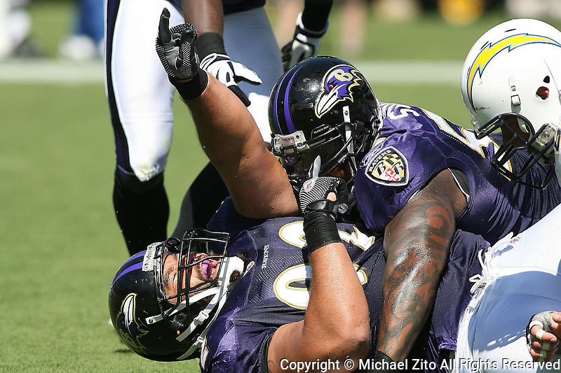 09/20/09 San Diego, CA: LB Terrell Suggs #55 and Haloti Ngata #92 in action against the San Diego Chargers in an NFL game played at Qualcomm Stadium. The Ravens defeated the Chargers 31-26.