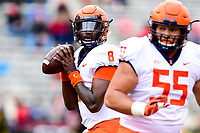 College Park, MD - OCT 27, 2018: Illinois Fighting Illini quarterback M.J. Rivers II (8) drops back to pass during game between Maryland and Illinois at Capital One Field at Maryland Stadium in College Park, MD. The Terrapins defeated Illinois to move to 5-3 on the season. (Photo by Phil Peters/Media Images International)