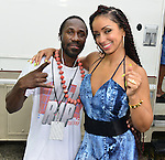 MIAMI, FL - JULY 25: Claudy Louis and Mýa backstage during the Overtown Music and Arts Festival at the historic Overtown district of Miami on Saturday July 25, 2015 in Miami, Florida. ( Photo by Johnny Louis / jlnphotography.com )