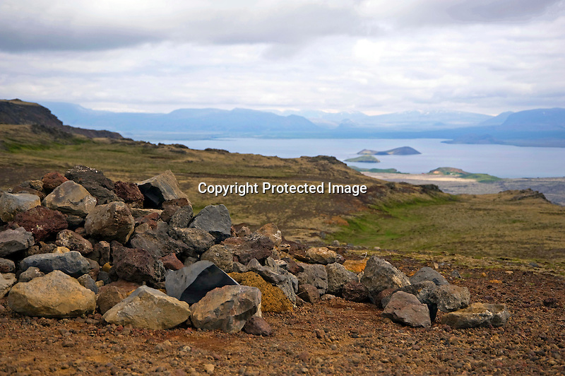 Hilltop View of Cloudy Thingvallavatn Lake in South Iceland