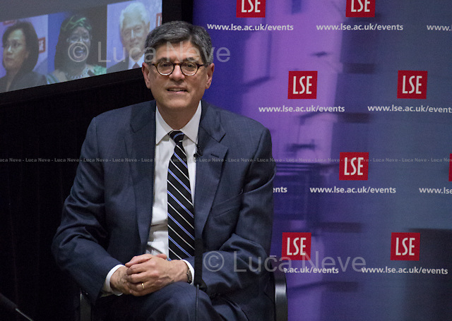 London, 27/05/2015. Today, the LSE (London School of Economics and Political Studies) US Centre presented a public meeting called &quot;In Conversation with Secretary Lew&quot; hosted by Jacob &quot;Jack&quot; Lew (American government administrator and Attorney; he is the 76th and current United States Secretary of the Treasury, serving since 2013; He previously served as the 25th White House Chief of Staff from 2012 to 2013; Lew is the former Director of the Office of Management and Budget, OMB, in the Clinton and Obama Administrations, and is a member of the Democratic Party). Chair of the event was Paul Ingrassia (Managing Editor for Reuters, a division of Thomson Reuters, headquartered in New York City).<br />