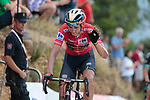 Red Jersey Dylan Teuns (BEL) Bahrain-Merida waves goodbye to the race lead as he crosses the finish line at the end of Stage 7 of La Vuelta 2019 running 183.2km from Onda to Mas de la Costa, Spain. 30th August 2019.<br /> Picture: Colin Flockton | Cyclefile<br /> <br /> All photos usage must carry mandatory copyright credit (© Cyclefile | Colin Flockton)