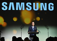 NEW YORK, NY - NOVEMBER 02: President and CEO Samsung Electronics North America Tim Baxter speaks onstage during the Samsung annual charity gala 2017 at Skylight Clarkson Square on November 2, 2017 in New York City.  Credit:  George Napolitano/MediaPunch /NortePhoto.com