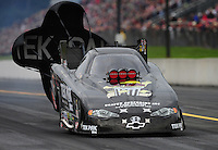 Oct. 1, 2011; Mohnton, PA, USA: NHRA funny car driver Dale Creasy Jr during qualifying for the Auto Plus Nationals at Maple Grove Raceway. Mandatory Credit: Mark J. Rebilas-