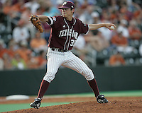 Texas A&M Freshman Pitcher Brooks Raley delivers against Texas on May 16th, 2008 in Austin Texas. Photo by Andrew Woolley / Four Seam images..