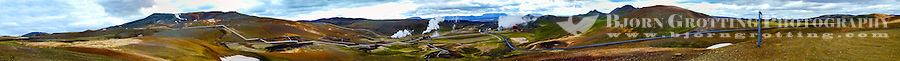 Iceland. Panorama of the Krafla volcanic area.