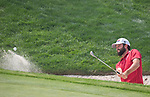 Robert Streb hits out of a bunker on the 5th hole during the Barracuda Golf Championship at Montreaux on Saturday, August 4, 2018.