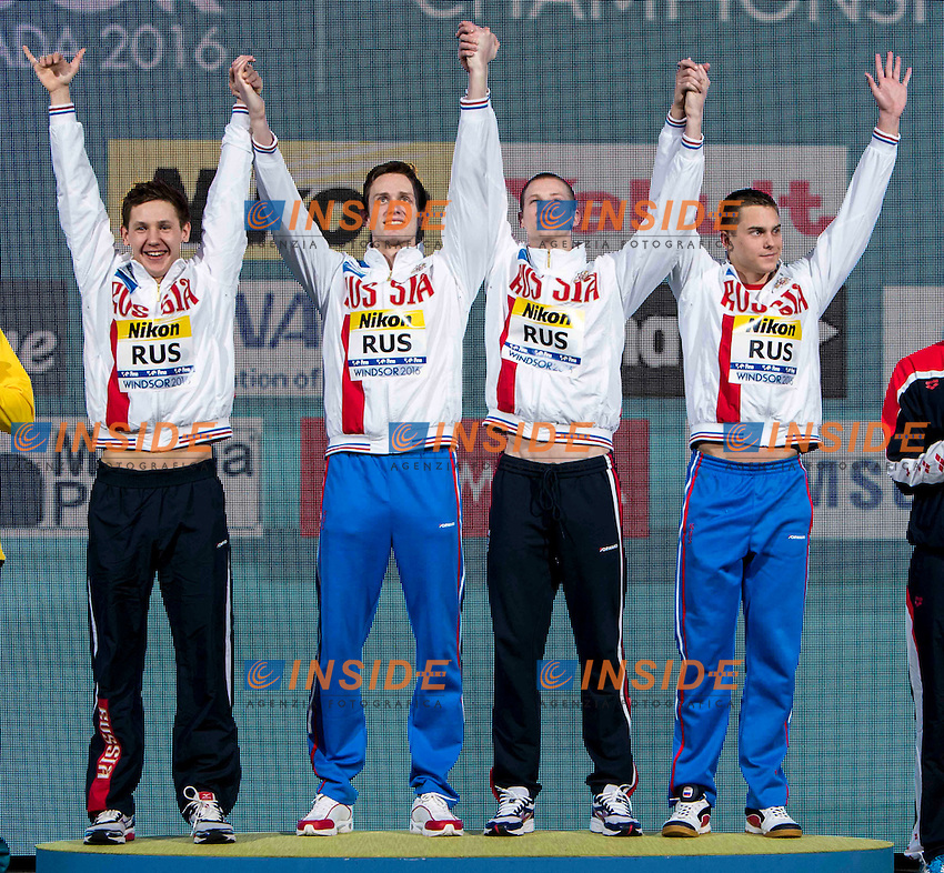 Russia RUS Gold Medal <br /> SHABASOV Andrei PRIGODA Kirill KHARLANOV Aleksandr <br /> MOROZOV Vladimir <br /> Men's 4x100m Medley Relay<br /> 13th Fina World Swimming Championships 25m <br /> Windsor  Dec. 11th, 2016 - Day06 Finals<br /> WFCU Centre - Windsor Ontario Canada CAN <br /> 20161211 WFCU Centre - Windsor Ontario Canada CAN <br /> Photo &copy; Giorgio Scala/Deepbluemedia/Insidefoto