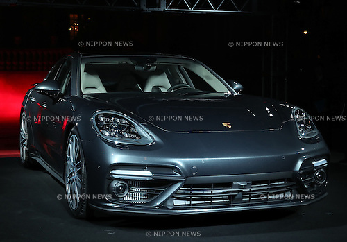 December 20, 2016, Tokyo, Japan - German sports car maker Porsche displays the new Panamera 4 E-Hybrid in Tokyo on Tuesday, December 20, 2016. Porsche's four-door sedan Panamera has a 550-horse power 4.0-litter turbo charged engine to drive all wheels.  (Photo by Yoshio Tsunoda/AFLO) LWX -ytd-