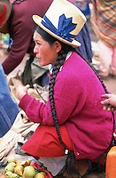 A vendor in Pisac Market, the Sacred Valley of the Incas.