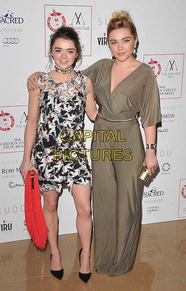 Maisie Williams &amp; Florence Pugh attend the London Critics' Circle Film Awards 2016, May Fair Hotel, Stratton Street, London, UK, on Sunday 17 January 2016.<br /> CAP/CAN<br /> &copy;Can Nguyen/Capital Pictures