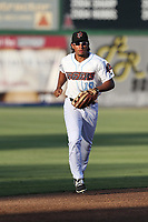 Jahmai Jones (19) of the Inland Empire 66ers returns to the dugout during a game against against the Rancho Cucamonga Quakes at San Manuel Stadium on July 29, 2017 in San Bernardino, California. Inland Empire defeated Rancho Cucamonga, 6-4. (Larry Goren/Four Seam Images)