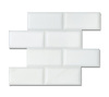 "3"" x 6"" Bricks shown in pillowed and honed Paperwhite are part of New Ravenna's Studio Line of ready to ship mosaics."