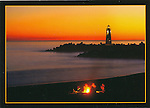FB 326, 5x7 postcard,  Twin Lakes State Beach, sunset and campfire, Walton Ligh