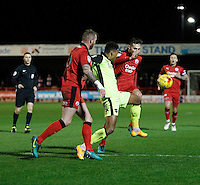 Exeter City's Ollie Watkins fends off Crawley Town's Mark Connolly during the Sky Bet League 2 match between Crawley Town and Exeter City at Broadfield Stadium, Crawley, England on 28 February 2017. Photo by Carlton Myrie / PRiME Media Images.