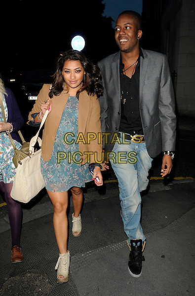 VANESSA WHITE of The Saturdays & GUEST.The Lucy In Disguise cocktail party, Fifth Floor Restaurant, Harvey Nichols, Knightsbridge, London, England..May 25th, 2011.full length blue sheer print dress beige jacket jeans denim grey gray jacket walking black bag purse platform wedges peep toe .CAP/CAN.©Can Nguyen/Capital Pictures.