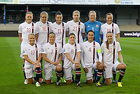 20140410 - LEUVEN , BELGIUM : Norway team pictured with Ingrid Hjelmseth (1) , Ingvild Stensland (4) , Maren Mjelde (6) , Trine Ronning (7) , Caroline Graham Hansen (10) , Nora Holstad Berge (11) , Elise Thorsnes (16) , Lene Mykjaland (17) , Kristine Minde (18) , Ingvild Isaksen (19) and Ada Stolsmo Hegerberg (21) during the female soccer match between Belgium and Norway, on the seventh matchday in group 5 of the UEFA qualifying round to the FIFA Women World Cup in Canada 2015 at Stadion Den Dreef , Leuven . Thursday 10th April 2014 . PHOTO DAVID CATRY